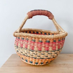 Vintage Woven Colorful Basket sigh Handle